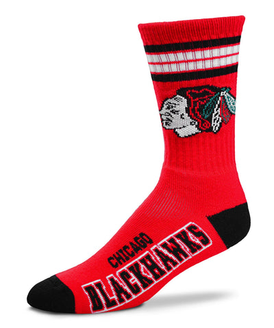 G-III CHICAGO BLACKHAWKS 4 STRIPE DEUCE MEN'S SOCKS