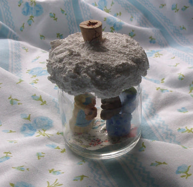 Tiny miniature cottage scene of girl with teddy bear upcycled small jar