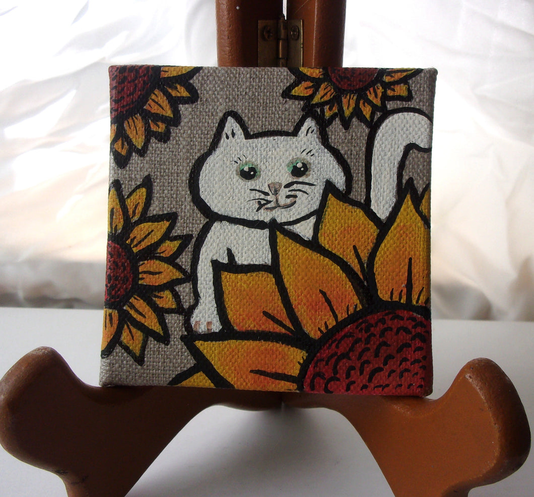Sunflower kitty a miniature artwork