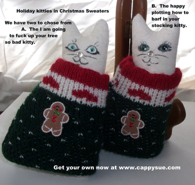 Kittens in sweaters holiday christmas kitty ornaments ugly sweater cats