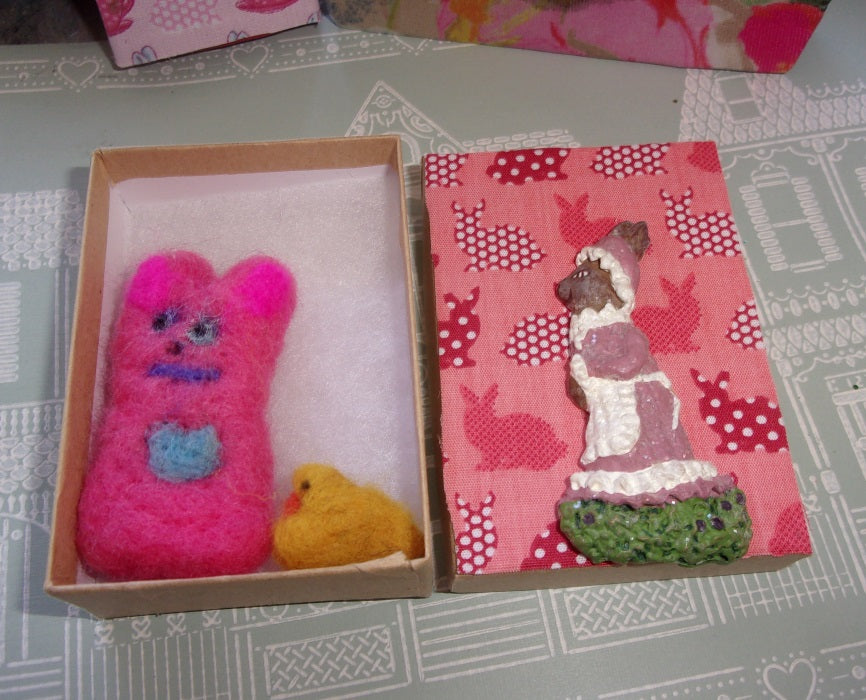 Bunny box with miniature felted bunny and a tiny chick