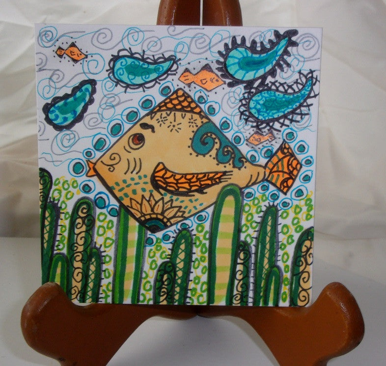 Swim little fishes fast as you can it was all a lark gold fish surreal zen inspired art