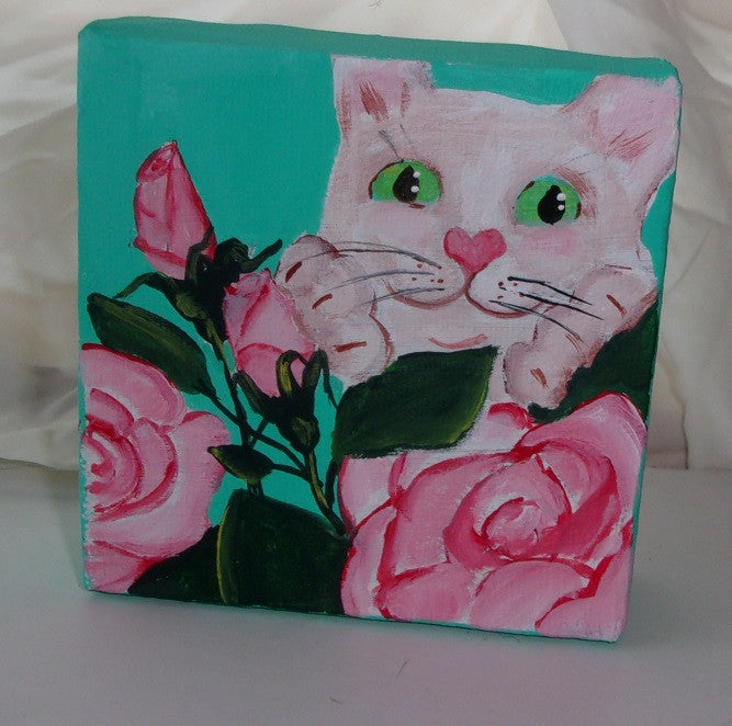 Roses and kitten small original painting