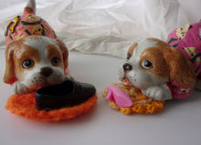 Pajama party puppy pair of figurines two little dogs chewing on shoes