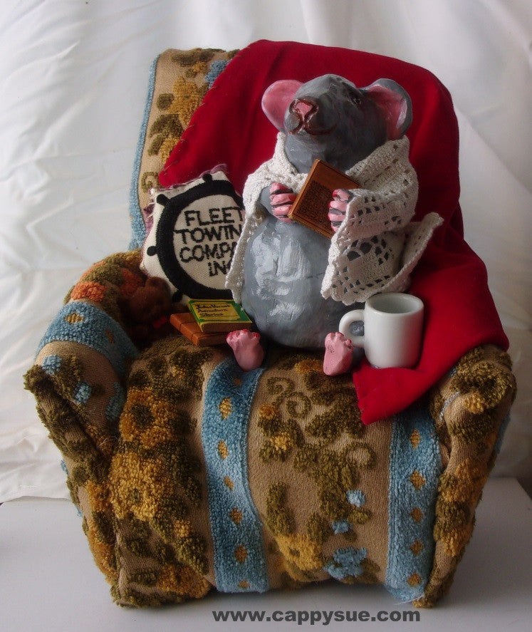 Reading time rat in comfy chair art doll diorama