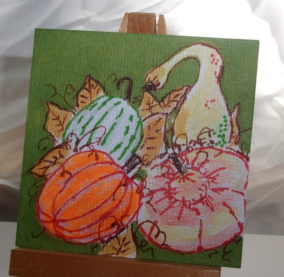 Pumpkin gourd harvest mini autumn Fall themed art