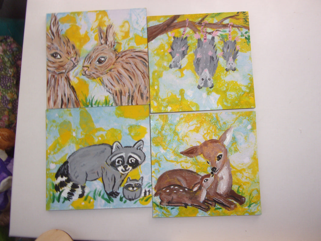 Wild life collection a set of four miniature paintings