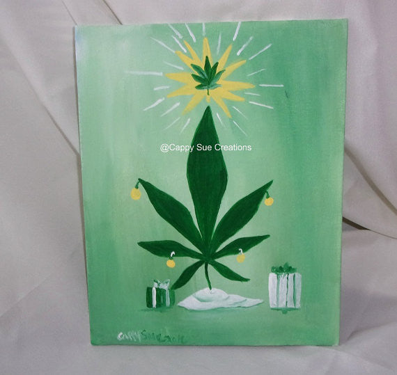 Pot leaf christmas tree painting marijuana cannabis humor chirstmas tree