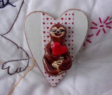 Hanging sloth valentines day gift or decoration the love sloth cute sweet and one of a kind