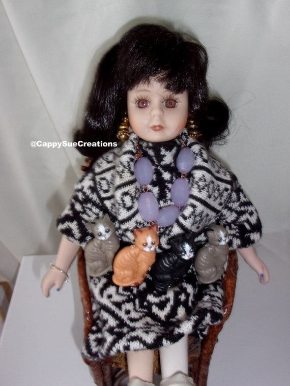 Crazy Cat Lady Doll original one of a kind art doll