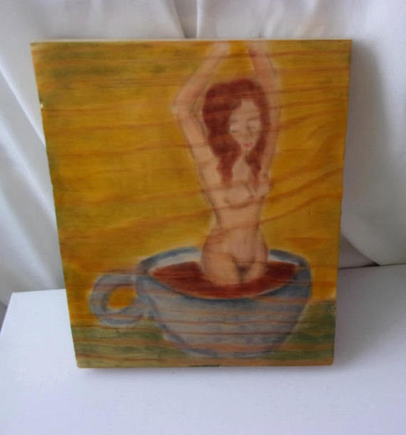 Coffee brings the life mature sure I guess woman birthed from coffee fine art work on scrap wood