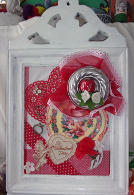 Valentine's day love is in the air one of a kind assemblage cupid, love and ready to hang art