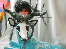 Apocolyptic winter deer with doll head hat minion