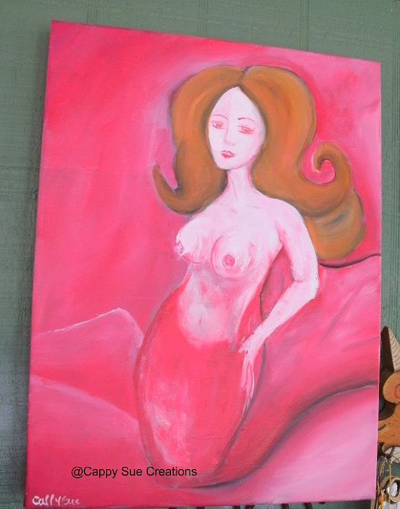 Pink Mermaid original painting