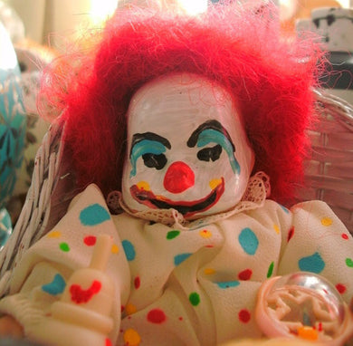 Killer Clown baby doll in baby carriage murderous little angry clown baby perfect baby shower decoration