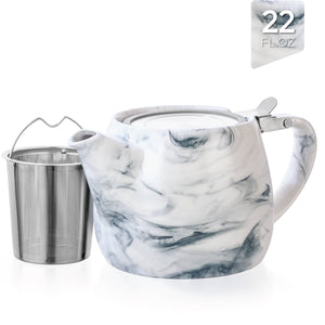 TEALYRA - Marble Porcelain Grey Teapot With Infuser 22oz