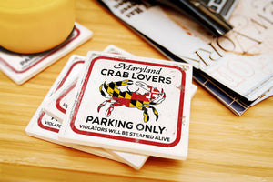 Lantern Press - Maryland - Crab Lovers Parking Only Ceramic Coaster