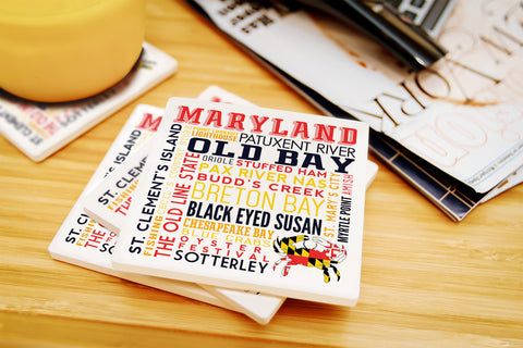 Lantern Press - Maryland - Typography and Crab Ceramic Coasters