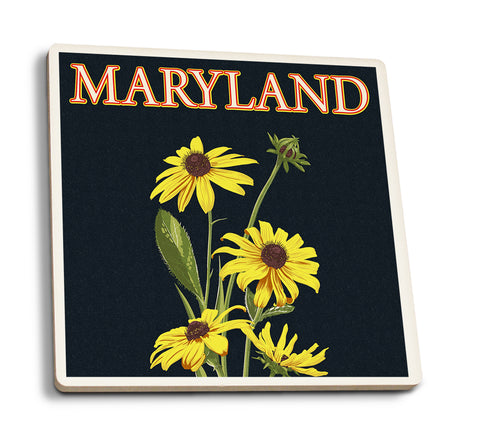Lantern Press - Maryland - Black Eyed Susan Letterpress Coaster