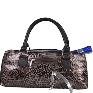 Primeware Inc. - Wine Clutch Copper Brown Croc Insulated Single Bottle