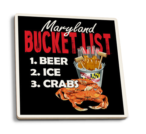 Lantern Press - Maryland - Bucket List Beer and Crabs Ceramic Coaster