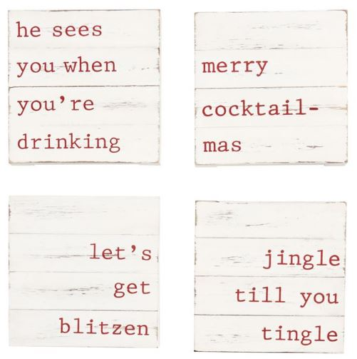 Mud Pie Wooden Holiday Coasters