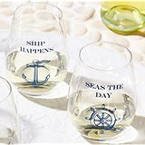 Ship Wrecked Stemless Wine Glasses