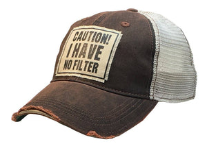 Vintage Life - Caution! I Have No Filter Distressed Trucker Cap