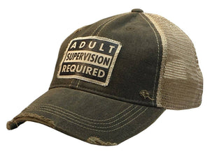 Vintage Life - Adult Supervision Required Distressed Trucker Cap