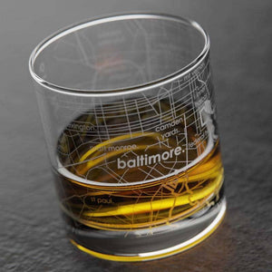 Well Told - Baltimore MD Map Rocks Whiskey Glass