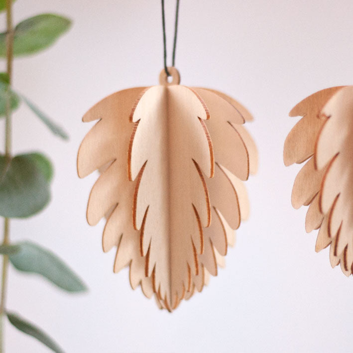 Wooden Cone Tree Decorations (set of two)