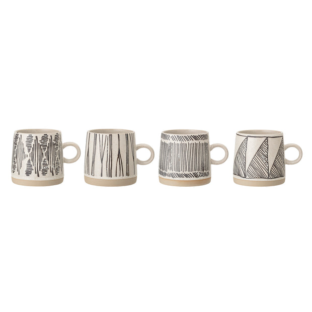 Set of 4 Black Stoneware mugs - From Victoria Shop