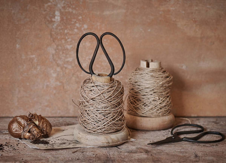 Wooden Bobbin with Jute String & Scissors