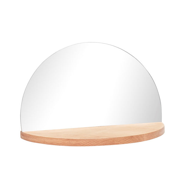 Half Circle Mirror on Shelf