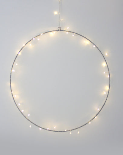 Hanging Silver Decoration Hoop - 45cm