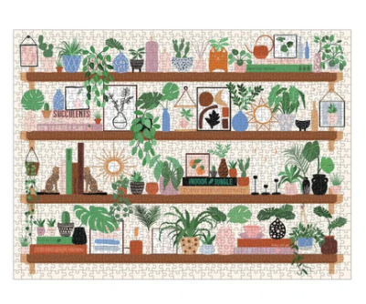 Plant Shelfie Jigsaw Puzzle - image of completed jigsaw with shelves laden with plants, books & accessories - 9780735366541