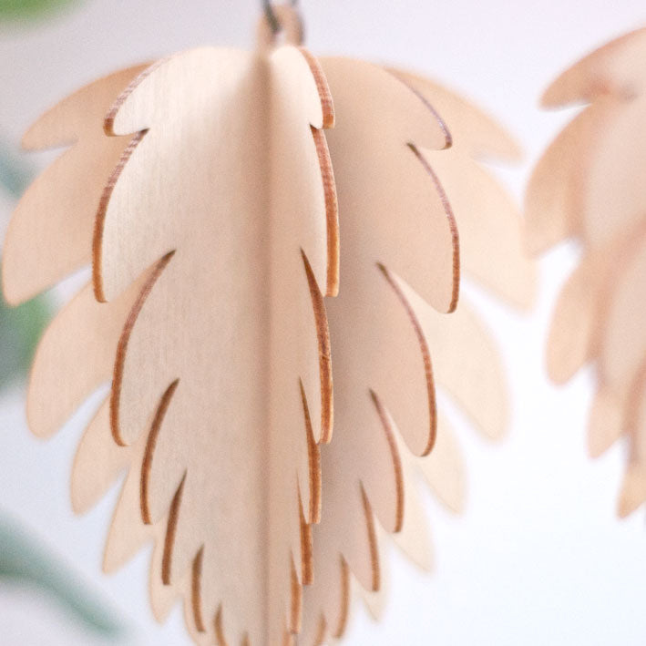 Wooden cone tree decoration detail