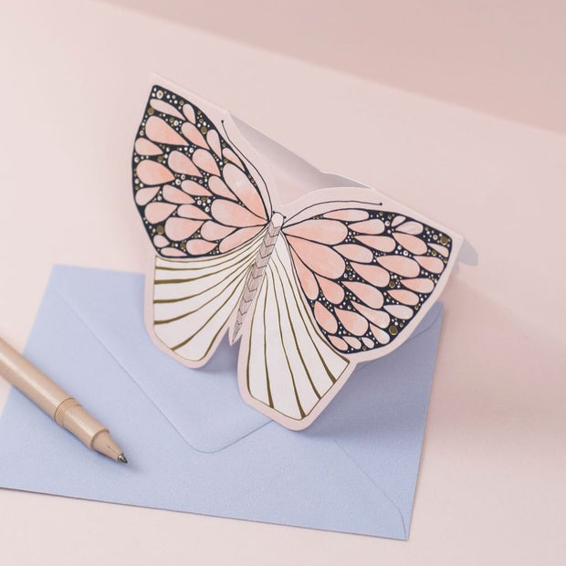 pink moth greeting card