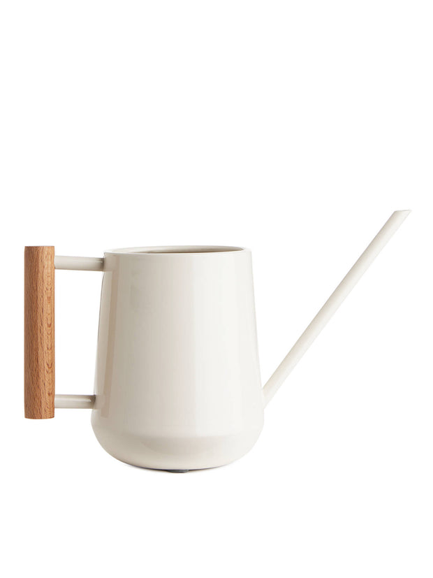 White Indoor Watering Can with Wooden Handle