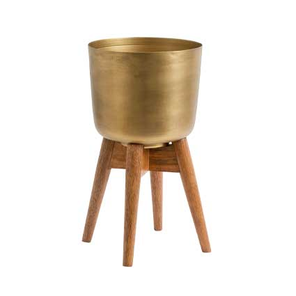 Brass planter on wooden stand - medium
