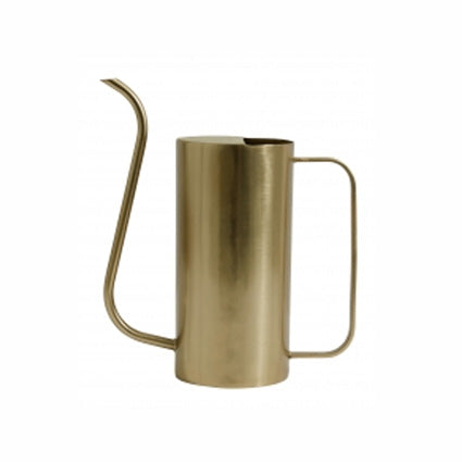 scandinavian designed tall cylindrical brushed brass watering can