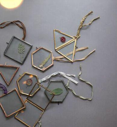 Tiny Hanging Brass Photo Frame