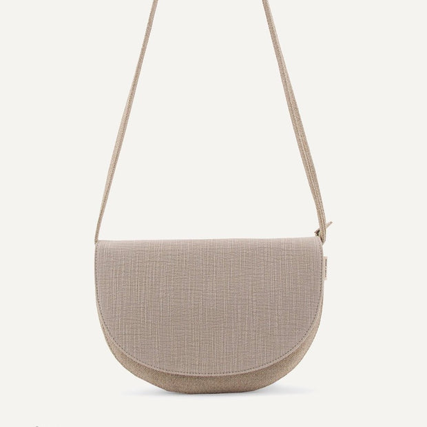 Soma half moon vegan leather hand bag - Linen