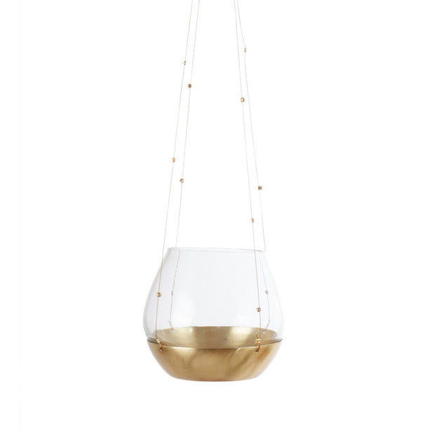 medium brass and glass hanging candle lantern