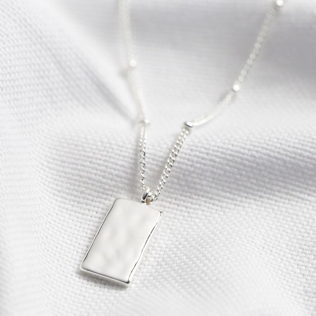 Hammered Mini Tag Pendant Necklace