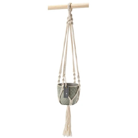 Macrame with Flecked Grey Planter