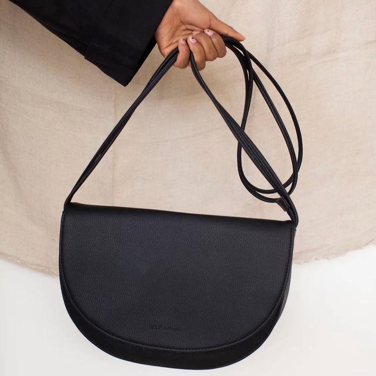 Black half moon vegan leather hand bag