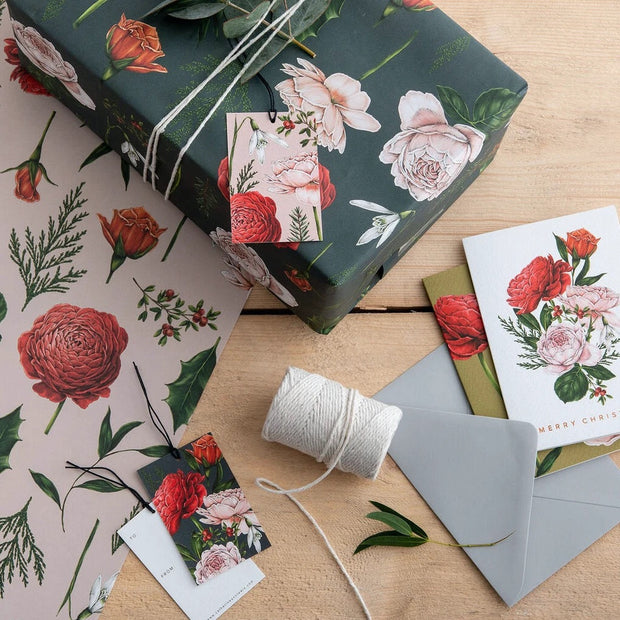 Christmas Berry Rose Gift Tag Set