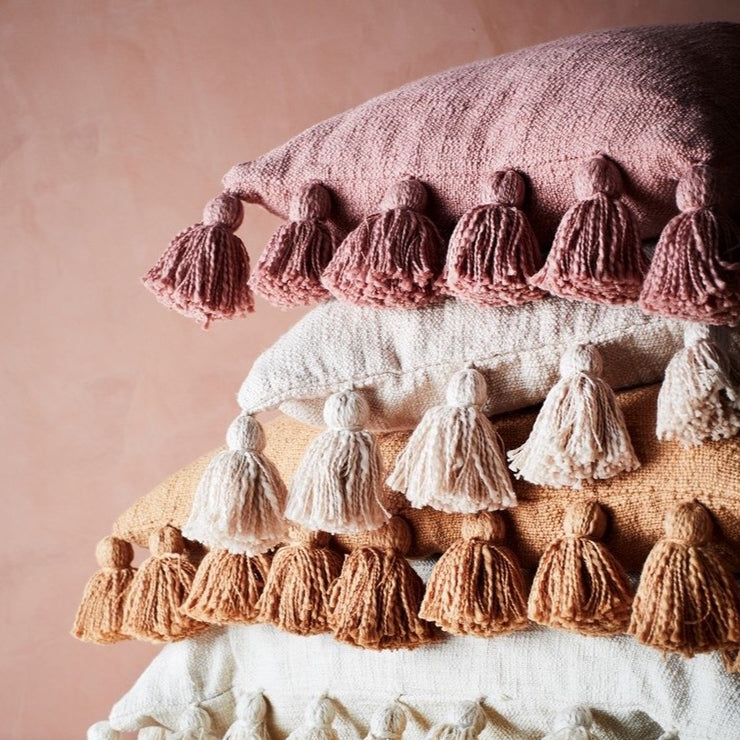 Cotton Tassel Cushion - From Victoria Shop