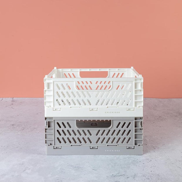 White Mini Folding Storage Crate